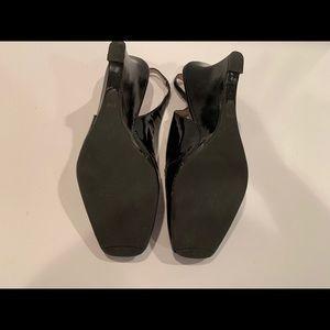 Talbots Shoes - Talbots black patent peep toe wedges 8.5